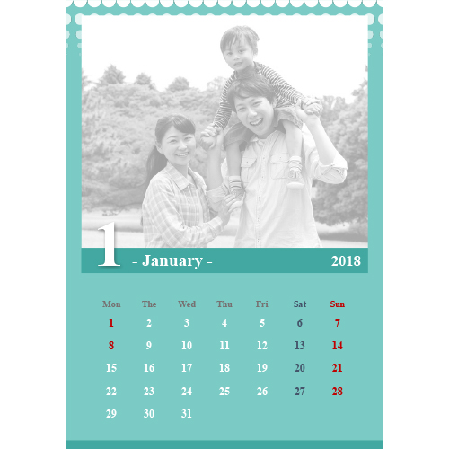 2018 年度カレンダー(A4 サイズ・タテ)