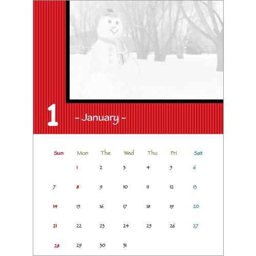2018 年度カレンダー(ストライプ・A4 サイズ)