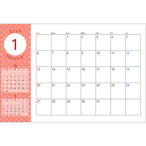 2019 年度カレンダー(ドット柄・ハガキサイズ)