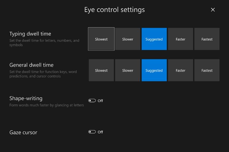 キャプチャ画像: Eye control settings
