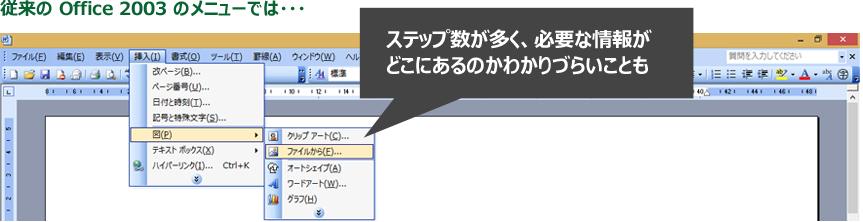 画像イメージ : 従来の Office 2003 のメニューでは・・・ステップ数が多く、必要な情報がどこにあるのかわかりづらいことも