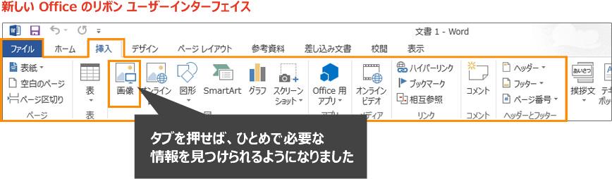 画像イメージ : 新しい Office のリボン ユーザー インターフェイスでは、タブを押せば、ひとめで必要な情報を見つけられるようになりました