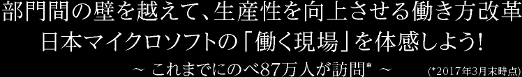 部門間の壁を越えて、生産性を向上させる働き方改革 日本マイクロソフトの「働く現場」を体感しよう! ~これまでにのべ 87 万人が訪問* ~(*2017 年 3 月末時点)