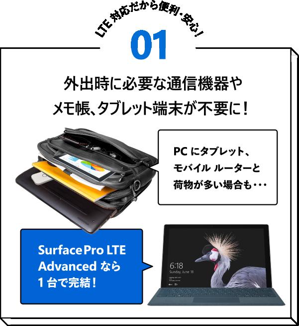 LTE 対応だから便利・安心!01 外出時に必要な通信機器やメモ帳、タブレット端末が不要に!