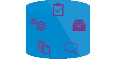 挿絵:作業項目、ソースコード、ビルド、テスト、バグ情報を一貫性を保って一元管理