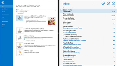 Office 365의 전자 메일 계정 정보 페이지 및 메시지 목록 스크린샷