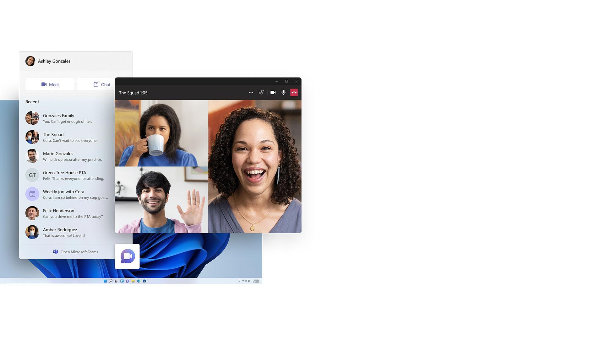 Microsoft Teams 앱과 작업 표시줄 아이콘이 표시된 Windows 11 화면