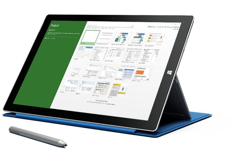 Microsoft Project의 새 프로젝트 화면이 표시되어 있는 Microsoft Surface 태블릿