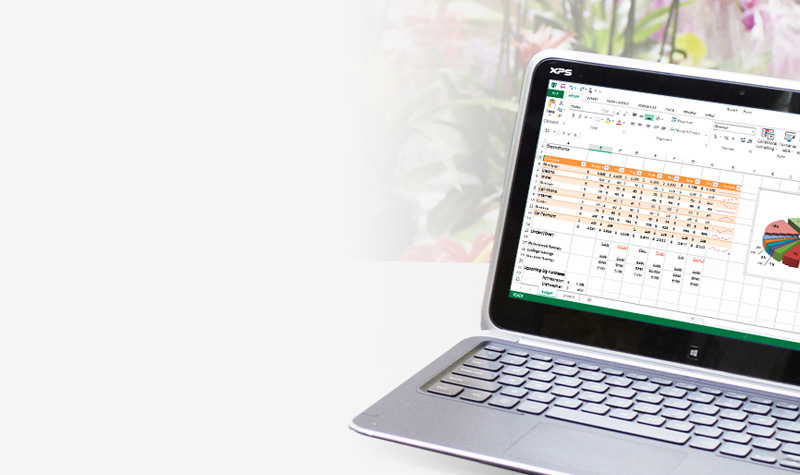 차트가 있는 Microsoft Excel 스프레드시트가 표시된 노트북