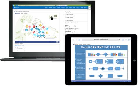 각각 다른 Visio 다이어그램을 보여주는 노트북 및 태블릿