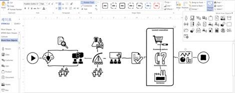 디자인을 사용자 지정하기 위한 리본 메뉴와 도구가 표시된 Visio 다이어그램 클로즈업