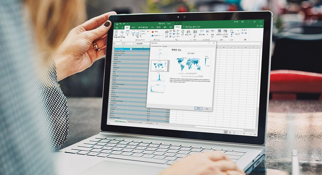 Surface 태블릿에 표시된 Excel의 지도