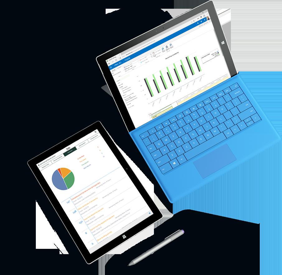 다양한 차트 및 그래프가 화면에 표시되어 있는 두 개의 Microsoft Surface 태블릿