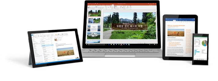 Office 365 앱이 있는 스마트폰, 데스크톱 모니터 및 두 대의 태블릿 컴퓨터