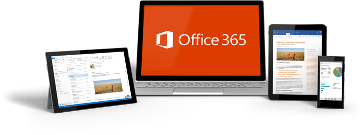 Office 365 앱이 있는 스마트폰, 데스크톱 모니터 및 두 개의 태블릿 컴퓨터
