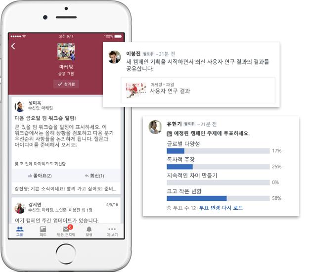 Yammer 그룹의 대화, 설문 조사 및 파일 공유를 보여 주는 휴대폰