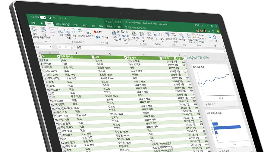 데이터와 그래프가 포함된 Excel 스프레드시트가 표시된 장치