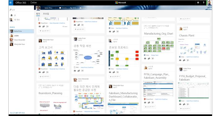 Delve의 Visio 다이어그램과 관련 사용자를 보여 주는 Office 365의 화면