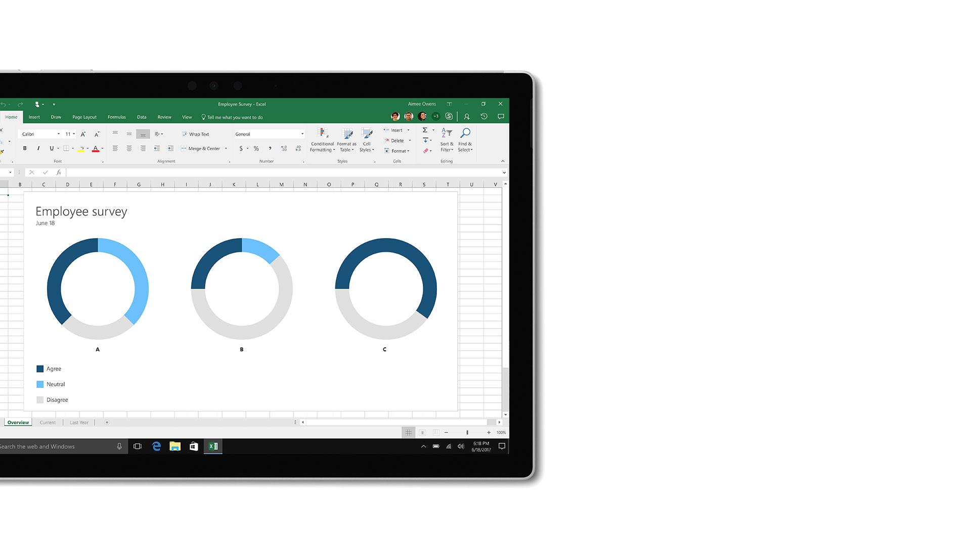 Microsoft Excel의 사용자 인터페이스 이미지