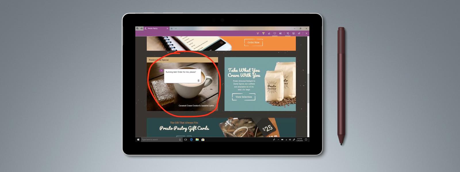Microsoft Edge 및 Windows Ink가 보이는 Surface Go
