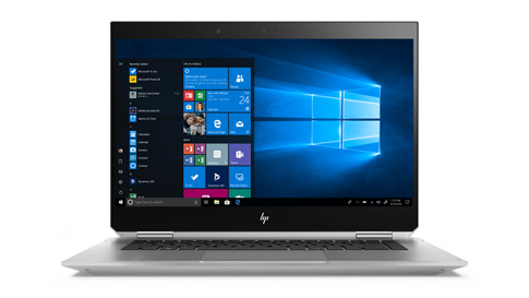 Windows 10 Commercial 시작 메뉴를 표시하고 있는 HP Zbook Studio x360 G5