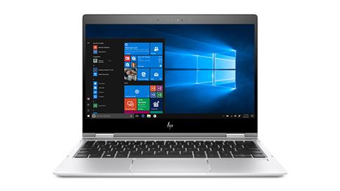 Windows 10 시작 메뉴가 표시된 HP 노트북