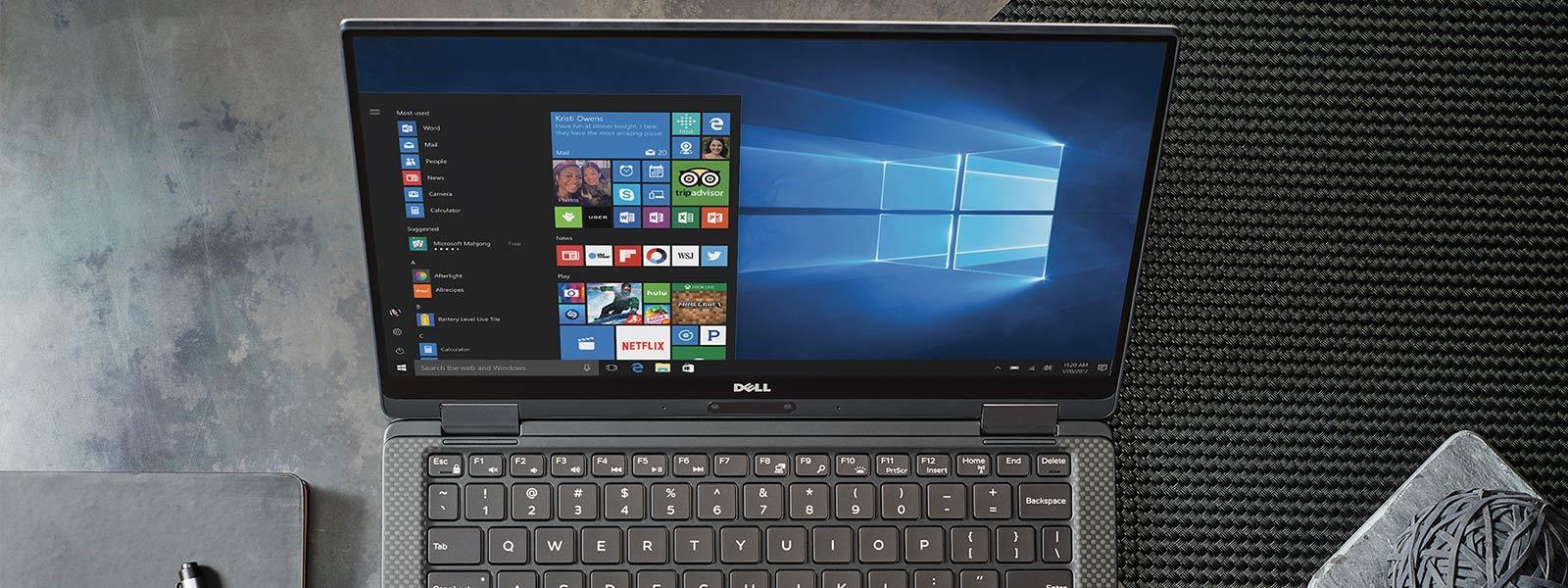Windows 10 시작 화면이 표시되어 있는 장치