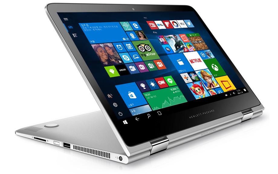 Windows 10 시작 화면이 표시된 HP Spectre x360 13