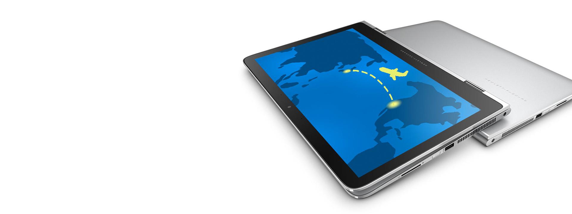 비행기가 있는 태블릿 모드의 HP Spectre x360