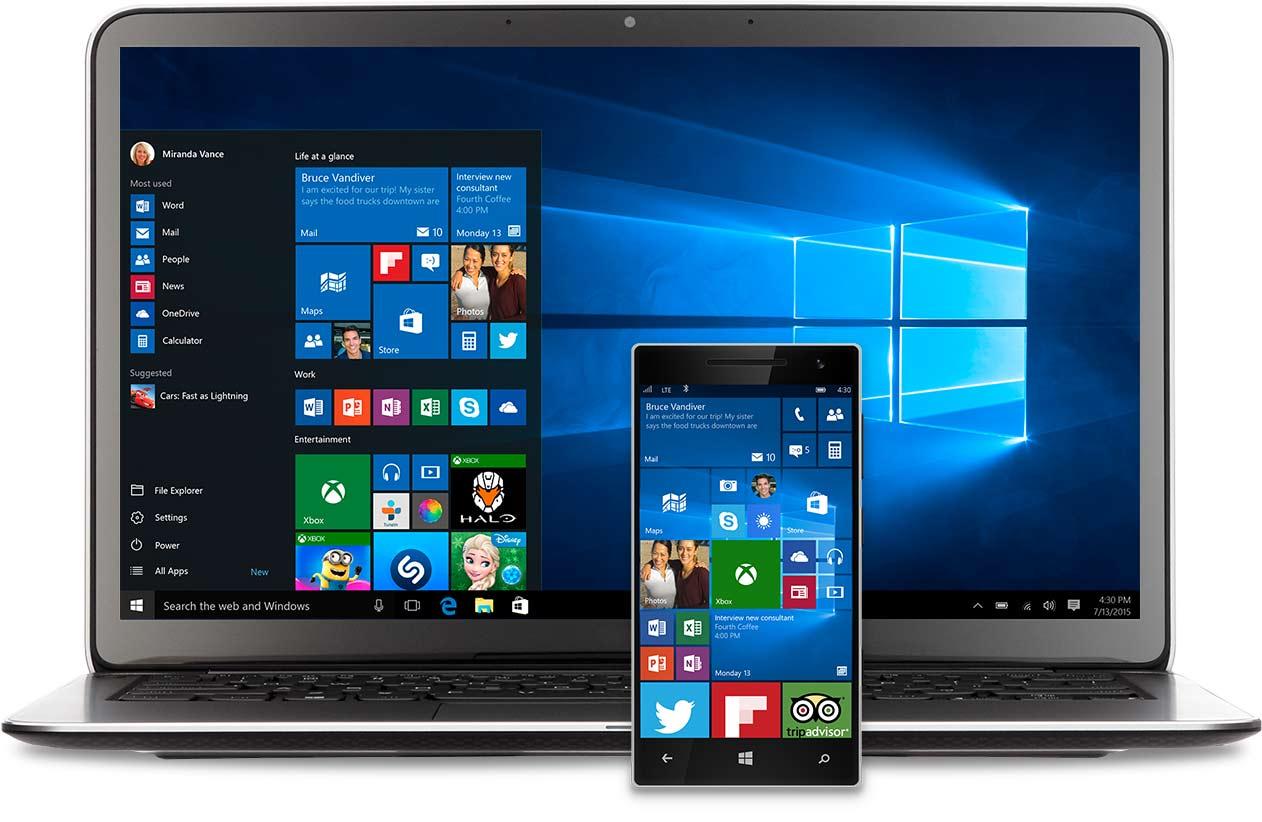 Windows 10 시작 메뉴가 표시된 노트북과 폰