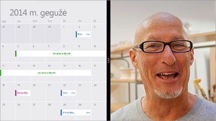 Vaizdo konferencijų ekranas, kuriame matomas bendrinamas kalendorius ir dalyvio atvaizdas.