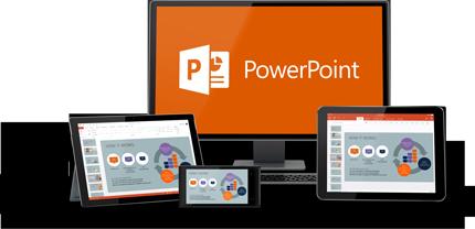 """""""PowerPoint"""" veikia įvairiuose įrenginiuose."""