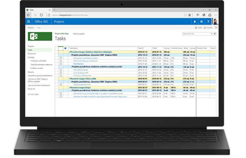 """Nešiojamasis kompiuteris, kurio ekrane rodomas """"Office 365"""" """"Project"""" užduočių sąrašas."""