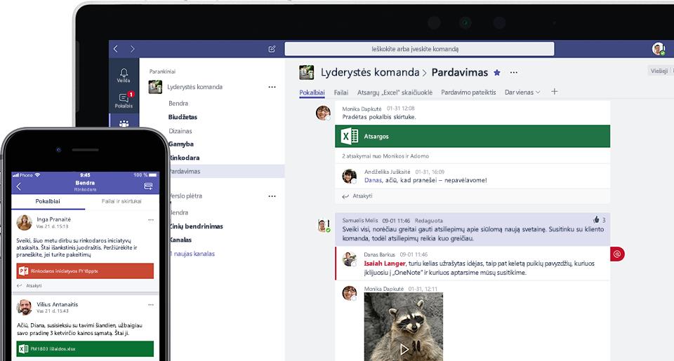 """Nuotrauka, kurioje yra """"Teams"""" ekranas mobiliajame įrenginyje ir nešiojamajame kompiuteryje"""