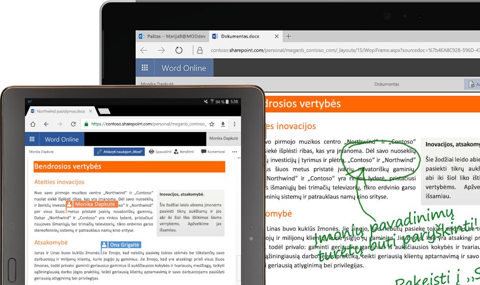 """Nešiojamasis ir planšetinis kompiuteriai, kuriuose veikia """"Word Online"""""""