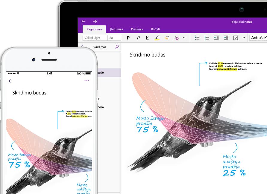 """Išmaniajame telefone ir planšetiniame kompiuteryje atidarytas """"OneNote"""" bloknotas, pavadintas """"Įkvėpimas"""", kuriame matomas kolibris"""