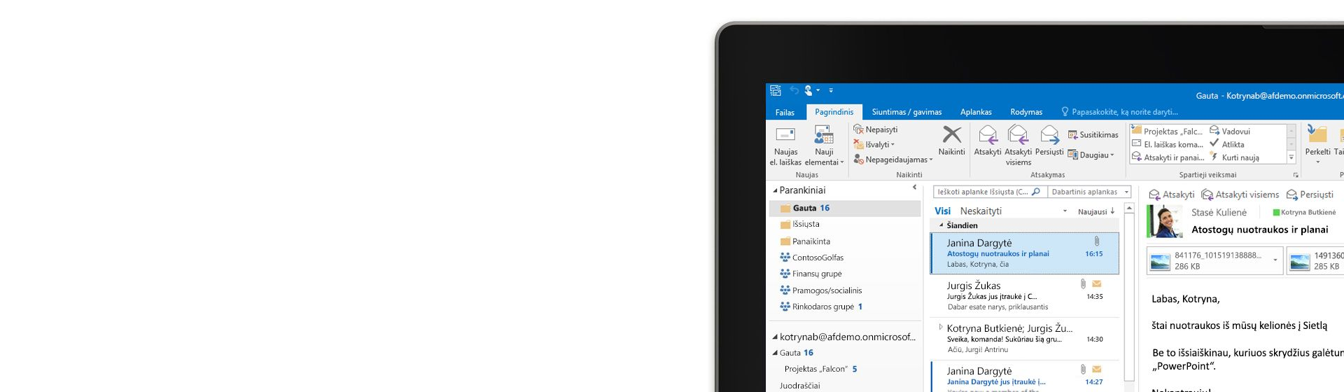 """Planšetinis kompiuteris, kuriame rodomas """"Microsoft Outlook 2016"""" aplankas Gauta su laiškų sąrašu ir peržiūra."""