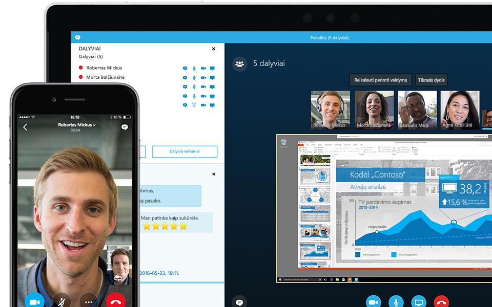 """Nešiojamojo kompiuterio, kuriame rodomas vykstantis """"Skype"""" verslui susitikimas ir dalyvių sąrašas, kampas"""