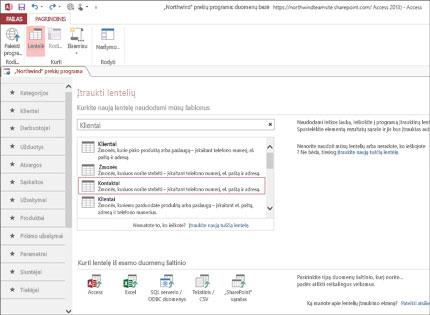 """""""Access 2013"""" duomenų bazių taikomosios programos ekrano kopija, kurioje matoma, kaip lengva įtraukti lentelių."""