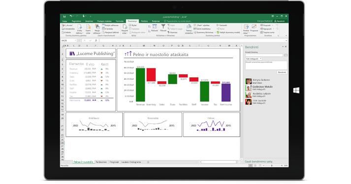 """""""Excel"""" bendrinimo puslapis su pasirinkta parinktimi Kviesti žmones."""