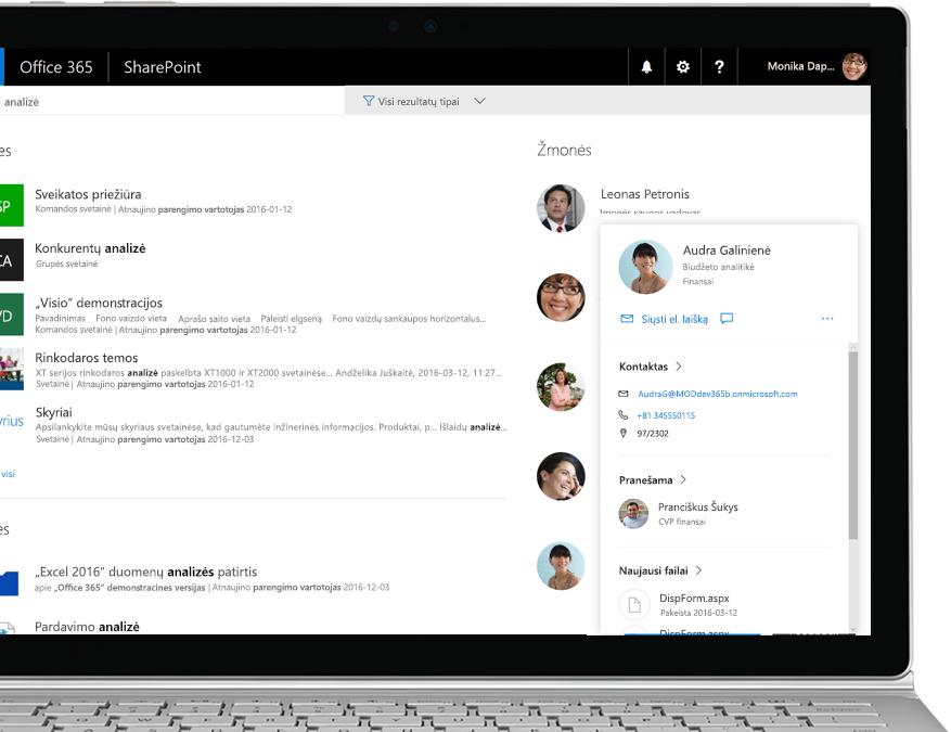 """""""SharePoint"""" sąrašas su atostogų prašymu ir automatizuotu """"Flow"""" procesu, kad kam nors įtraukus naują atostogų prašymą būtų siunčiamas el. laiškas"""
