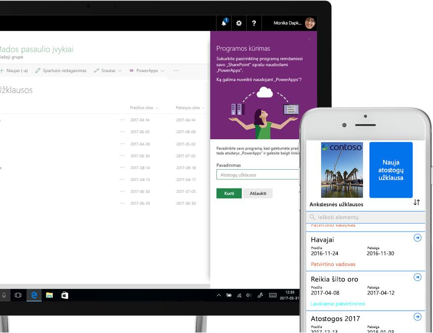 """nešiojamasis kompiuteris, kuriame įjungtas """"SharePoint"""" atostogų prašymų sąrašas ir """"PowerApps"""" programos kūrimo ekranas greta išmaniojo telefono, kuriame rodomas """"PowerApps"""" sukurtas atostogų prašymas"""