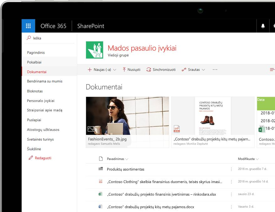"""SharePoint"" dokumentų biblioteka su filtrais"