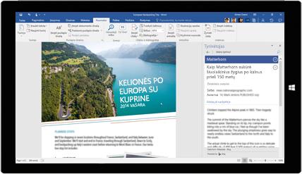 """Planšetinio kompiuterio ekrane rodoma """"Word"""" tyrinėtojo funkcija, naudojama dokumente apie keliones po Europą. Sužinokite, kaip sukurti dokumentus su įtaisytaisiais """"Office"""" įrankiais"""