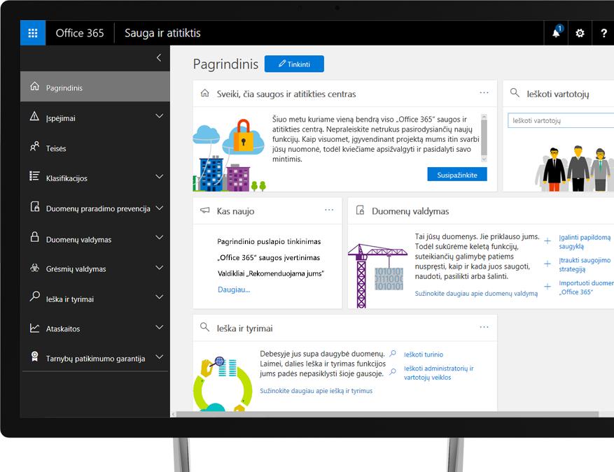 """""""Office 365"""" saugos ir atitikties centras """"Windows"""" kompiuterio monitoriuje"""