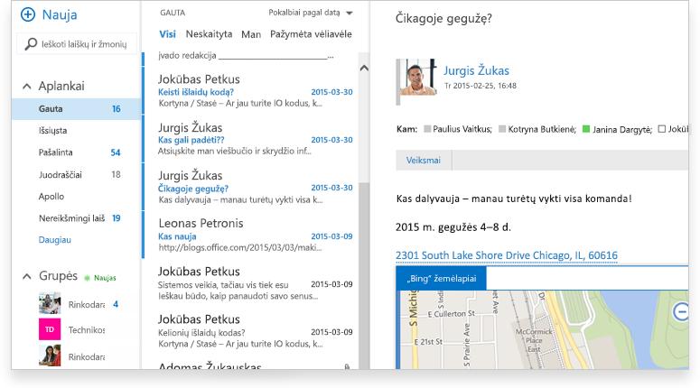 """išsamiai apie """"Exchange 2016"""" gautų laiškų aplanką"""