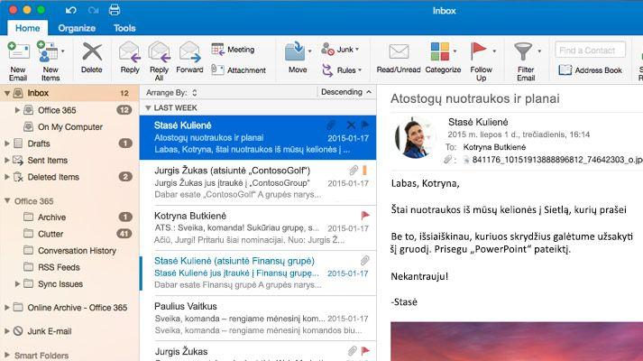 """""""Microsoft Outlook 2016"""" aplanko Gauta su laiškų sąrašu ir peržiūra ekrano kopija."""