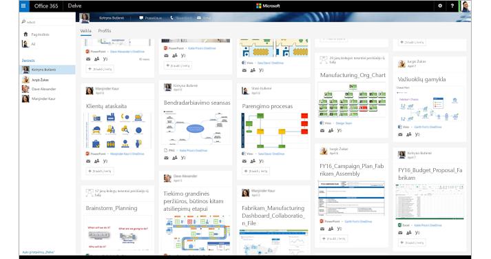 """""""Office 365"""" ekranas, kuriame matomi reikiami žmonės ir """"Visio"""" diagramos programoje """"Delve""""."""