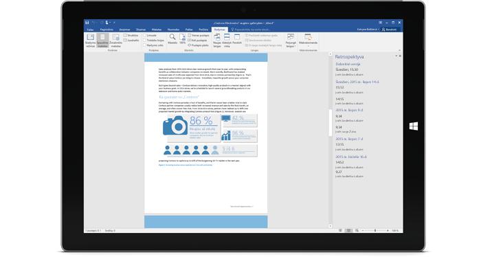 """Planšetinis kompiuteris, kuriame rodoma """"Office 365"""" dokumento versijų retrospektyva."""