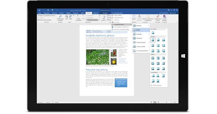 """""""Surface"""" ekrane rodoma nauja """"Word"""" dokumento funkcija Ką norite daryti."""